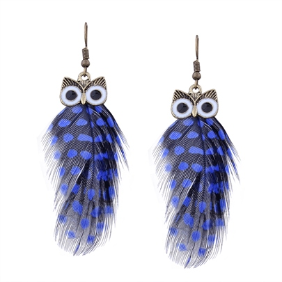 Owl Alloy Feathers Polka Dot European Earrings
