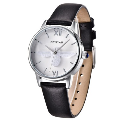 Butterfly Design Artificial Leather Strap Glass Elegant Watches