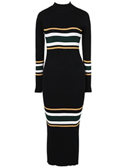 Turtle Neck Striped Women's Sweater Dress