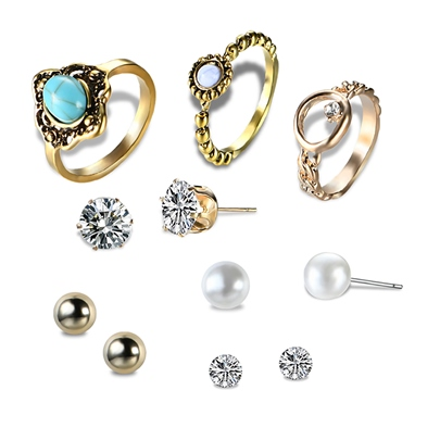 Pearl Hollow Out Alloy Overgild Imitation Turquoise Diamante Earrings&Rings Jewelry Sets