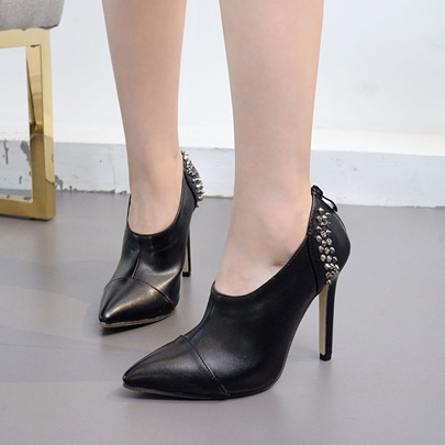 Black Shoes Rivet Back Zipper Women's High Heel Pumps