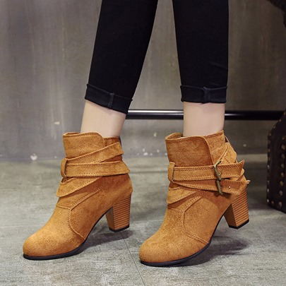 Strappy Short Floss Suede Women's Chunky Heel Ankle Boots