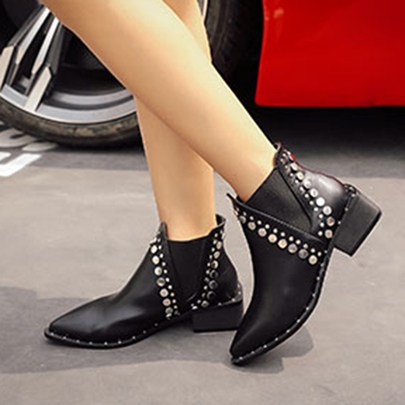 Block Heel Rivet Women's Black Ankle Boots