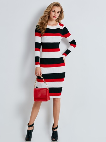 Color Block Stripe Slim Women's Sweater Dress