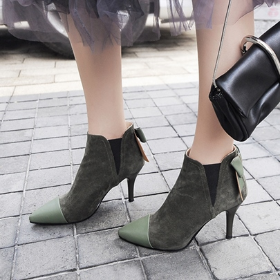 Big Bow Back Patchwork Women's High Heel Ankle Boots for Women