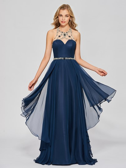 A-Line Jewel Halter Beading Prom Dress