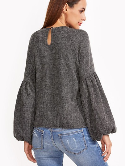 Round Neck Pullover with Lantern Sleeve Women's Blouse