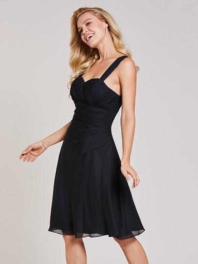 Straps Pleats A Line Black Dress