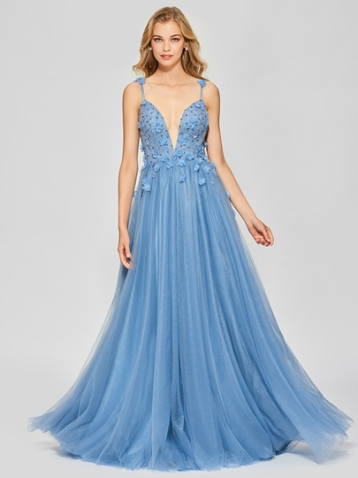 A-Line Backless Appliques Beading Spaghetti Straps Floor-Length Prom Dress