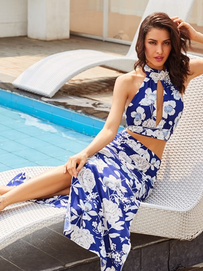 Floral Print Vacation Ankle-Length Women's Skirt Suit