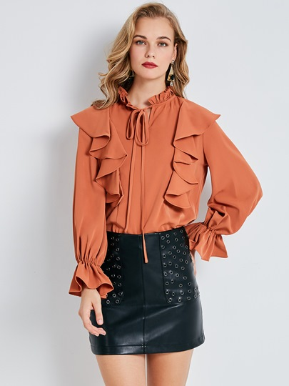Ruffled Collar Ruffle Sleeve Lace-Up Women's Blouse