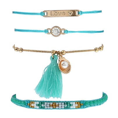 Candy Color Diamante Pearl Tassel Alloy Bracelet