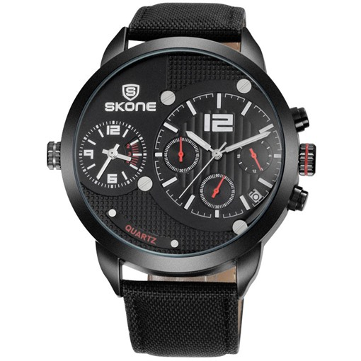 Double Movement Alloy Quartz Hardlex Canvas Strap Men's Watches