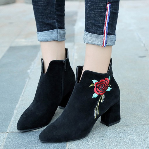 Embroidery Floral Suede Zipper Women's Chunky Heel Black Ankle Boots