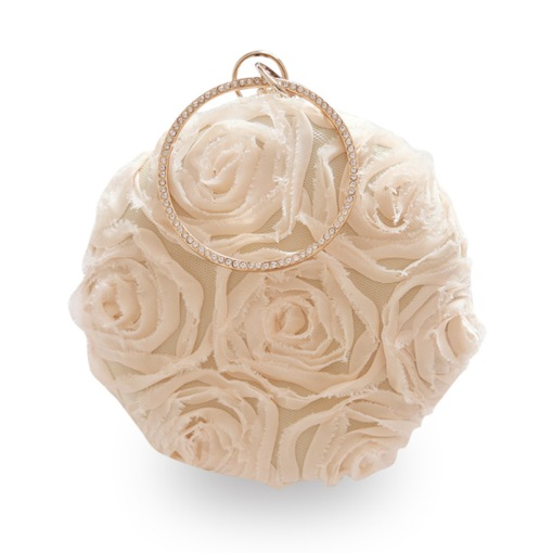 Ladylike Circular Floral Pattern Satin Women Clutch