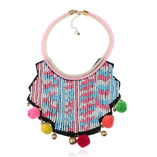 Color Block Beads Fuzzy Ball Alloy Bohemian Pom Pom Necklace