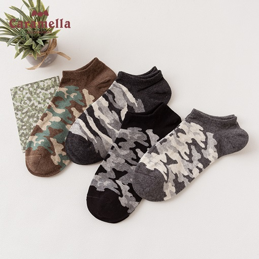 Camouflage Pattern Durable Men's Boat Socks 4 Packs