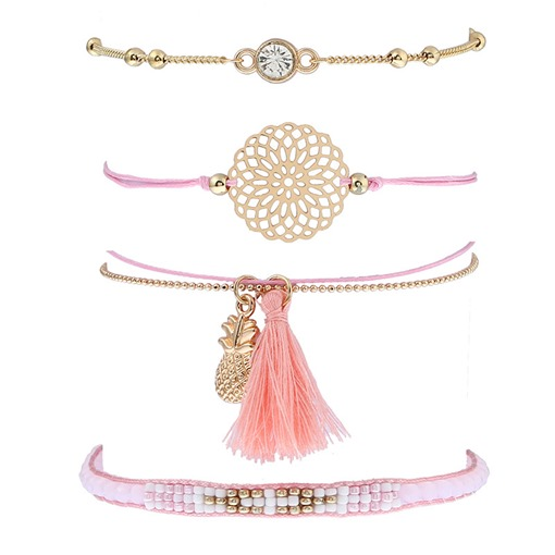 Pink Rhinestone Pineapple Hollow Out Tassel Bracelet