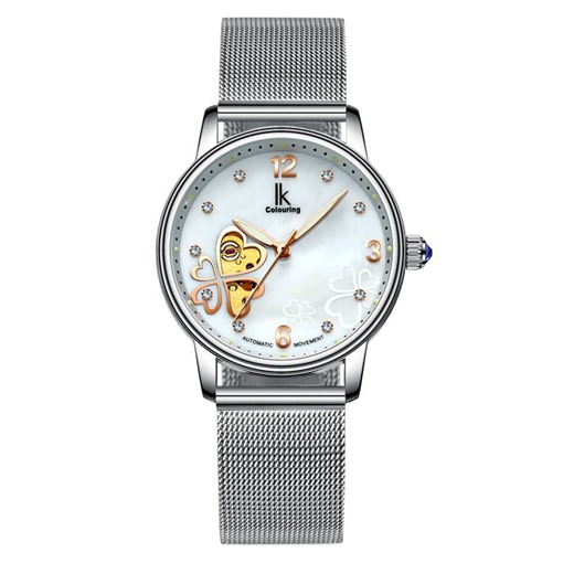 Luminous Mechanical Diamante Heart Stainless Steel Watches