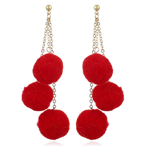 Red Great Fuzzy Pom Pom Pendant Tassel Earrings