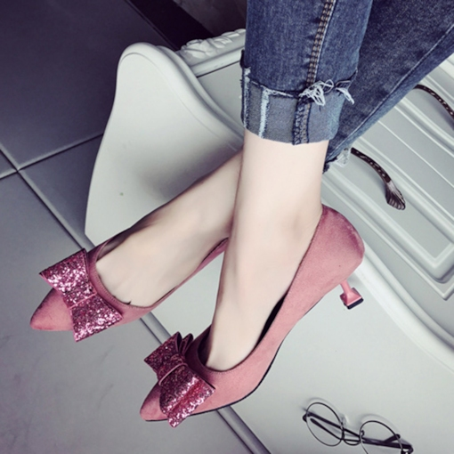 Bow with Sequins Patchwork Solid Women's Sweet Pumps