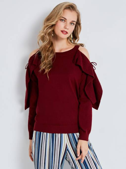 Round Neck Cold Shoulder Women's Knitwear