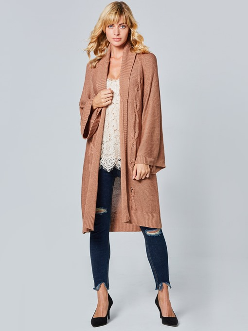 Plain Loose Long Sleeve Lapel Women's Cardigan