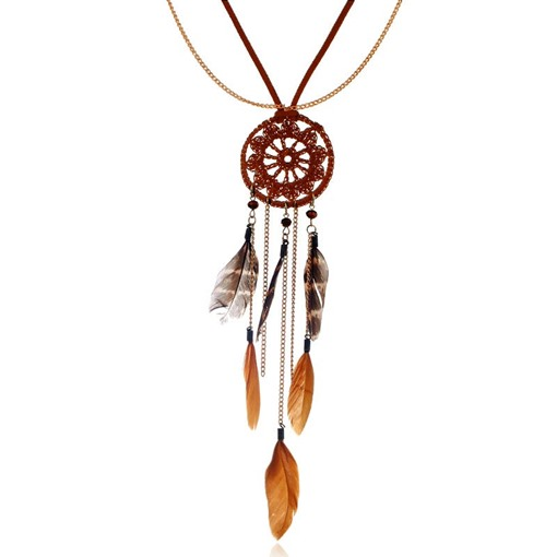 Feathers Tassel Hollow Out Pendant Pom Pom Necklace