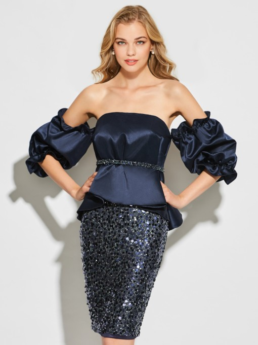 Sheath Sequins Long Sleeves Strapless Short Cocktail Dress