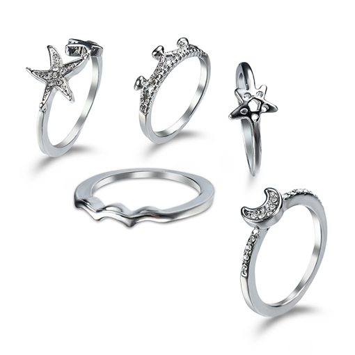 Star Moon Synthetic Stones Set Ring