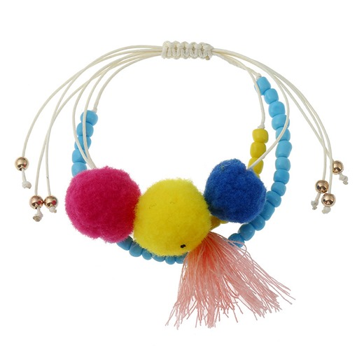 Candy Color Beads Tassel Woven Fuzzy Ball Bracelet
