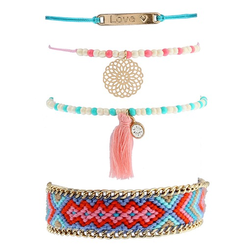 Love Rhinestone Tassel Beads Colorful Bracelet