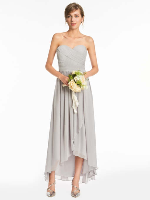 Sweetheart Pleats High Low Bridesmaid Dress