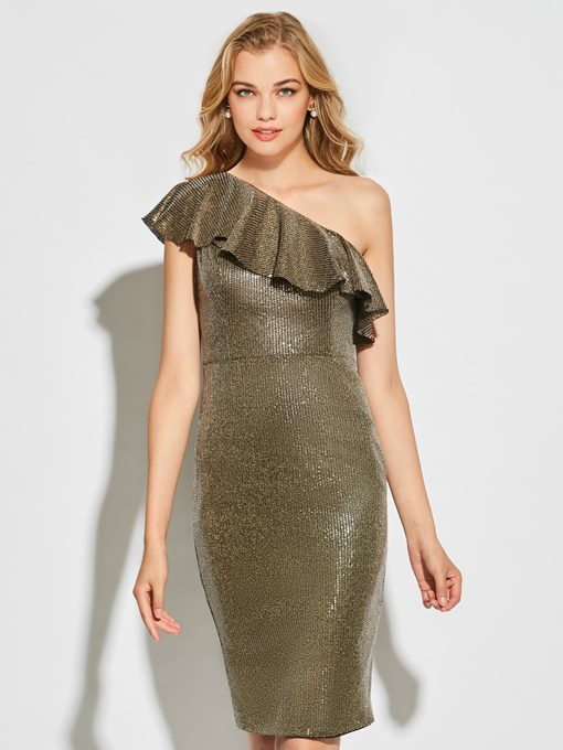 Sheath One-Shoulder Ruffles Sequins Short Cocktail Dress