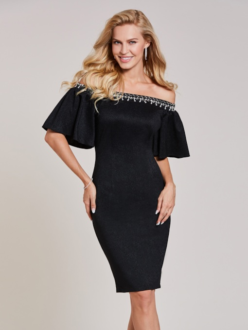 Off-the-Shoulder Beaded Knee-Length Sheath Cocktail Dress