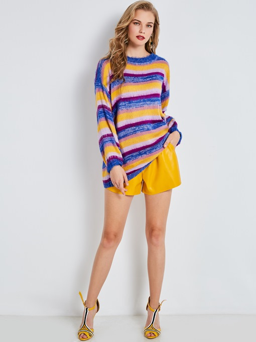 Loose Color Block Stripe Mid-Length Women's Knitwear