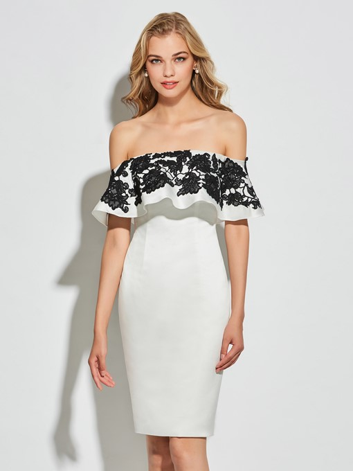 Sheath Off-the-Shoulder Sleeveless Appliques Knee-Length Cocktail Dress