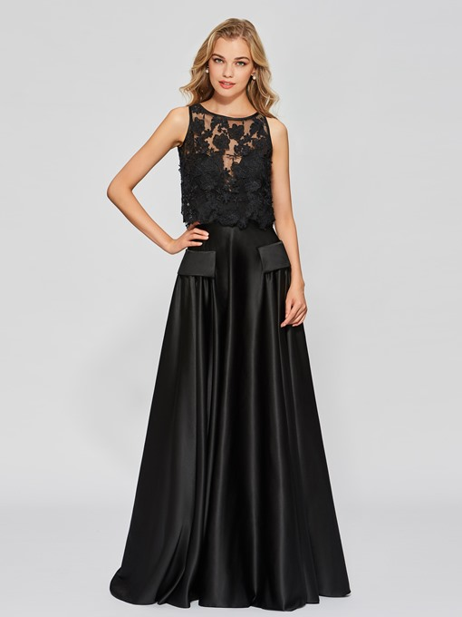 A-Line Lace Scoop Sleeveless Floor-Length Prom Dress