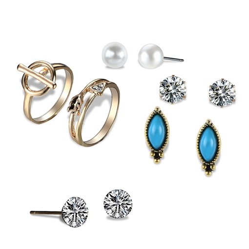 Hollow Out Arrow Zircon Pearl Marquise Earrings&Rings Jewelry Sets