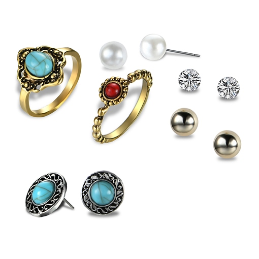 Round Alloy Imitation Turquoise Diamante Pearl Vintage Earrings&Rings Jewelry Sets