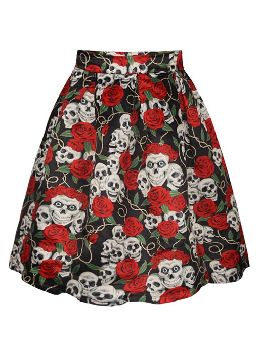 Halloween Pleated Floral Skull Print Women's Skirt