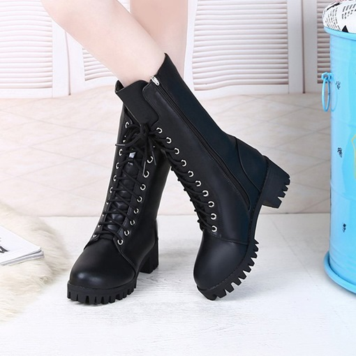Black Martin Boots Lace Up Platform Shoes