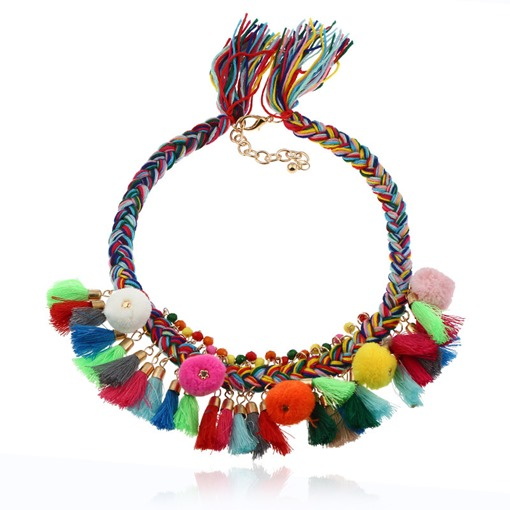 Colorful Fuzzy Ball Tassel Alloy Pom Pom Necklace