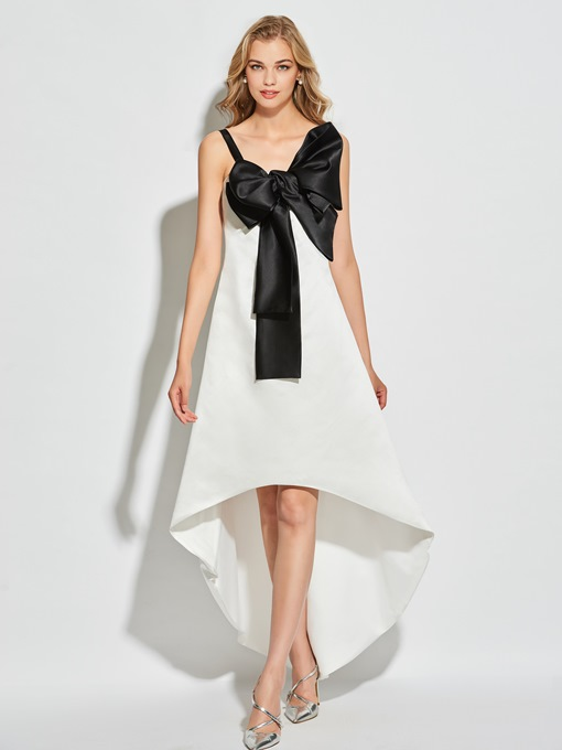 A-Line Bowknot Straps High-Low Cocktail Dress