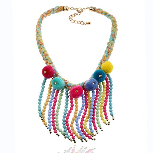 Alloy Fuzzy Ball Woven Colorful Pom Pom Necklace