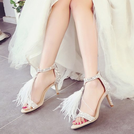 White Dress Shoes Fringe Rhinestone Women's High Heel Sandals
