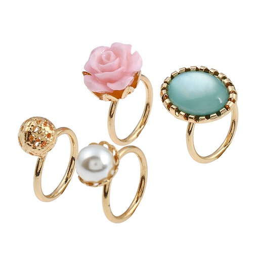 Pearl Inlaid Alloy Flower Overgild Ring