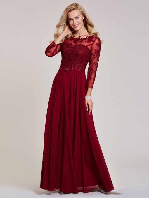 Bateau Neck Long Sleeves Lace Appliques Evening Dress
