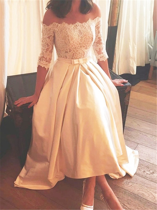 Half Sleeves High Low Lace Beach Wedding Dress