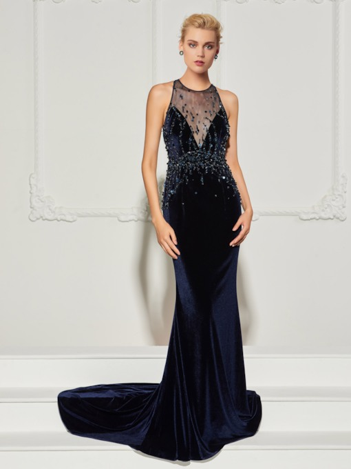 Mermaid Beading Jewel Velvet Sequins Court Train Evening Dress